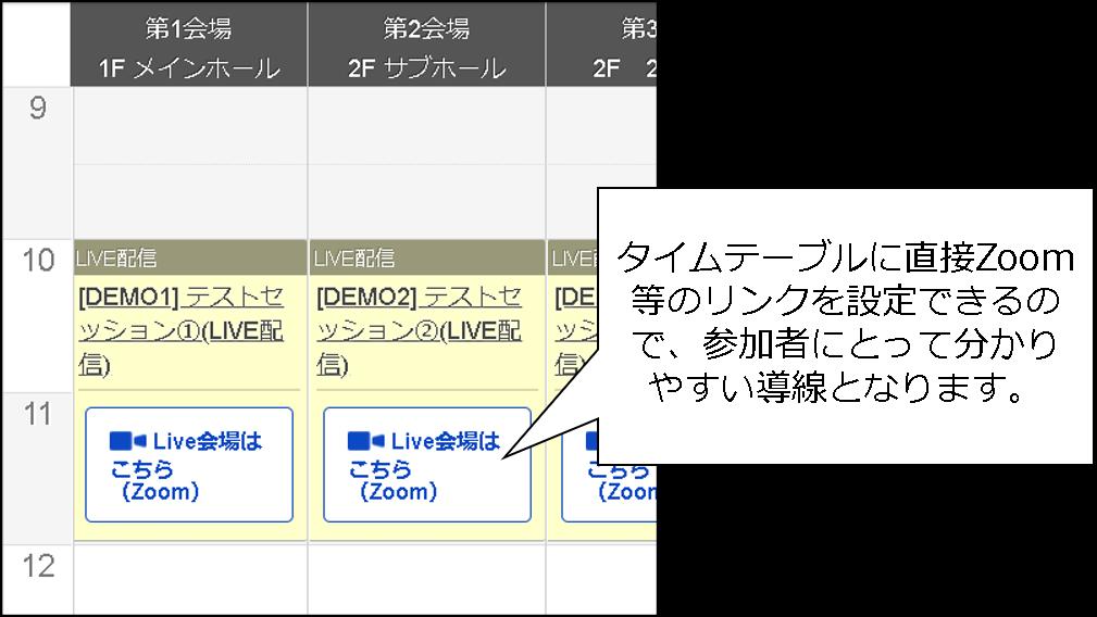 タイムテーブルにZoomのリンクを表示