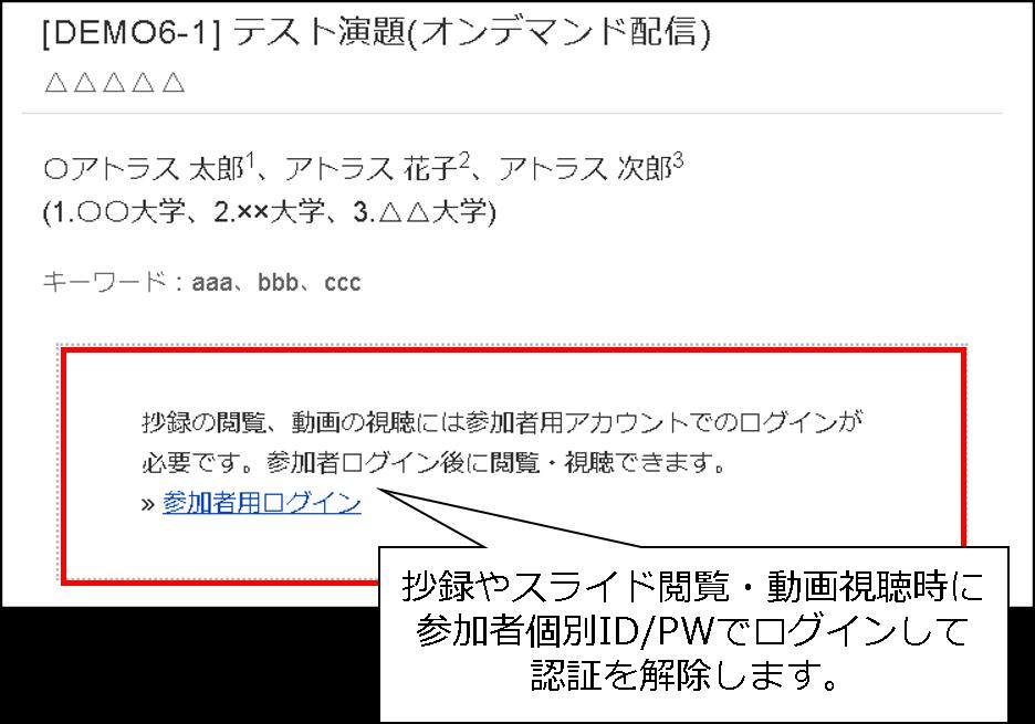 参加者個別ID/PWによる抄録ページの認証画面例