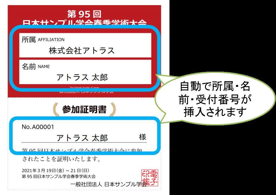 名前・所属・受付番号の挿入位置を示した、Confitで自動発行できる参加証のサンプル