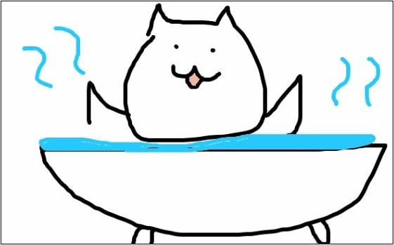 風呂に入っている猫の絵